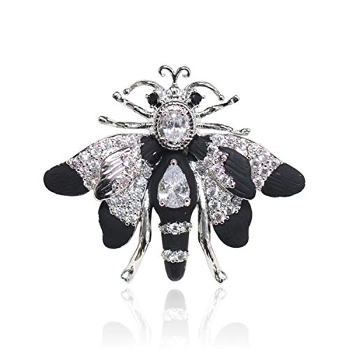 W WOOGGE Women's Insect Brooches Black Enamel Crystal Rhinestone CZ Butterfly Moth Pin Brooch for Grils