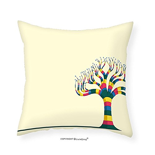 VROSELV Custom Cotton Linen Pillowcase Tree Natural Theme Design Vector Illustration of a Colorful Tree and the Leaves for Bedroom Living Room Dorm Eggshell and Yellow (Natural Shells Needlepoint)