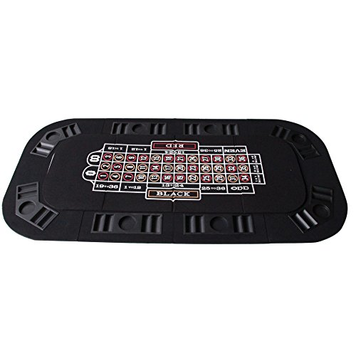 3 in 1 Folding Casino Texas Hold'em Table Top Black (Poker/Craps/Roulette) with Carrying Bag by IDS Home (Image #1)