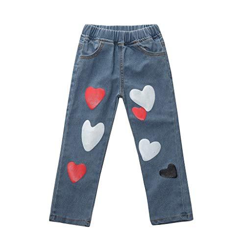 - Children Classic Pull on Skinny Jean Toddler Kids Baby Boys Girls Heart Print Denim Long Pants(Blue1,100)