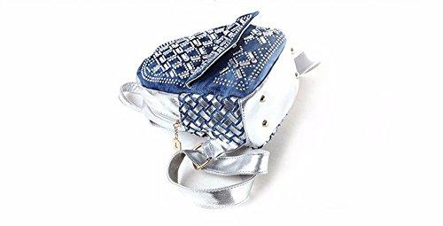 Hembra doble bolsa de hombro bolsa de tejido denim moda estudiante bag mini mochila, 22x11x25cm, plata Plata