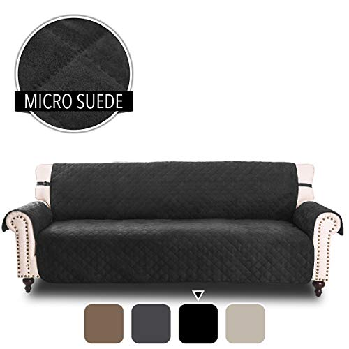 Rose Home Fashion RHF Faux Suede Cover for Extra-Wide Couch, Sofa Cover, Extra-Wide Couch Cover for Dogs, Extra-Wide Couch Covers for Pets, Couch Slipcover, Machine Washable (Sofa-Extra Wide: Black)