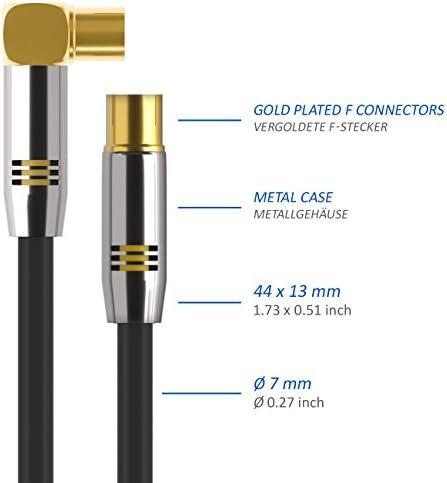 deleyCON 1m Cable de Antena TV HDTV Full HD - 1x en Ángulo Cable Coaxial Enchufe de TV (Recto) para Toma de TV (90° Grados) Tapón de Metal - Negro