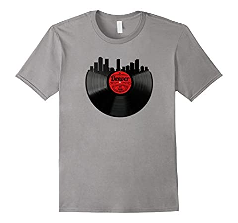 Mens Denver Colorado Shirt Vintage Skyline Vinyl Record T-Shirt 2XL Slate - Records Vintage T-shirt