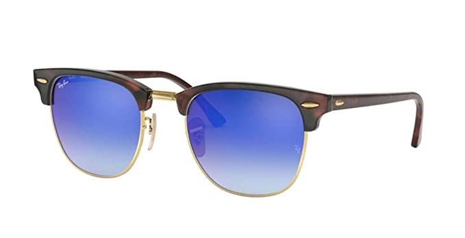 b709ecb7d43f0 Amazon.com  Ray-Ban RB3016 Clubmaster Flash Gradient Series Unisex  Sunglasses (Red Havana Frame Blue Mirror Gradient Lens 990 7Q