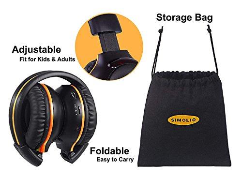 4 Pack of DVD Wireless Headphones, Car Kids Headphones, IR Headphones for Car Entertainment System, Wireless IR Headphones with Dual Channel by SIMOLIO (Image #2)