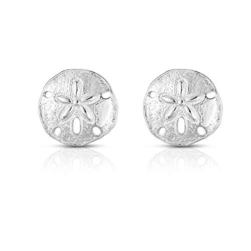 - Unique Royal Jewelry A Solid 925 Sterling Silver 1/2 Inch Diameter Sand Dollar Designer Post Stud Earrings. (Rhodium-Plated Sterling Silver)