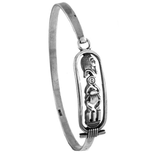 Egyptian Jewelry Silver King Tut Cartouche Bangle