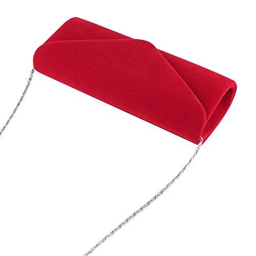 Clorislove - Bolso de mano para mujer, Retro, terciopelo Rosso