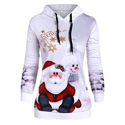 Holzkary Casual Long Sleeve Christmas Printed Tops Holiday Hoodie Drawstring Pullover for Women(2XL.White) (Brock California Farmhouse)