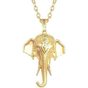 "Vintage Signed Jj Beautiful India Elephant Pendant, Headdress, 30"" Chain, Usa, in Gold Tone with Matte Finish"