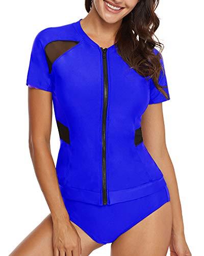 AnnJo Women 2 Piece Black Mesh Long Sleeve Zip Front Quicksilver Surf Rashguard Swimsuit (XX-Large, Blue) ()