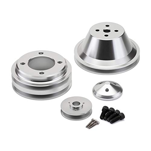 BlackPath - 302 + 351W + 351C + 400M V-Belt Pulley Kit Fits Ford Engines (Polished) T6 Billet