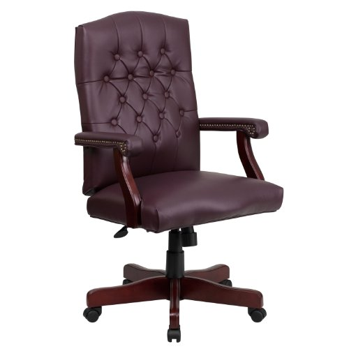 Flash Furniture Martha Washington Burgundy Leather Executive Swivel Chair with Arms - Swivel Burgundy Task Chair