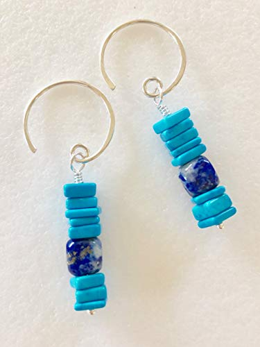 Turquoise Heishi Bead And Lapis Lazuli Earrings, December Birthstone, Natural Turquoise With Blue Lapis Nuggets, Gemstone Earrings, Sterling Silver. ()