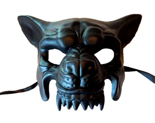 Black Wolf Half Mask Adult Mens Animal Angry Dog Venetian Costume Accessory