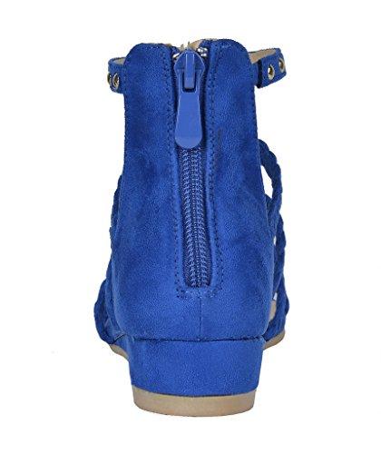 Paio Di Scarpe Da Donna Formosa_6 Zeppe Basse Con Zeppa E Cinturini Alla Caviglia 6-blu Royal