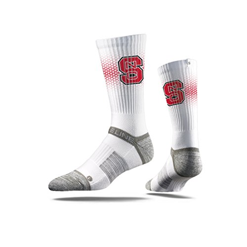 Strideline NCAA North Carolina State Wolfpack Premium Athletic Crew Socks, White, One Size
