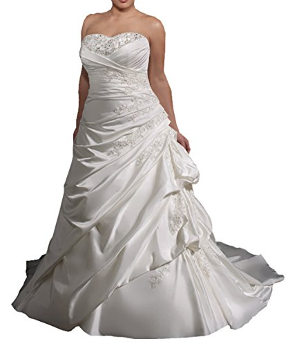Harshori Womens Plue Size Sweetheart Plue Size Wedding Dress 28 White (Size 28 White Wedding Dress)