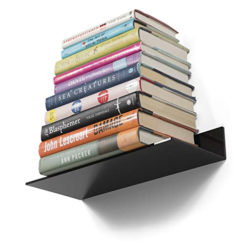 Modern Design Acrylic 14 Inch Floating Shelves Tray Display Office Decor Wall Mount Set of 6 (Black)