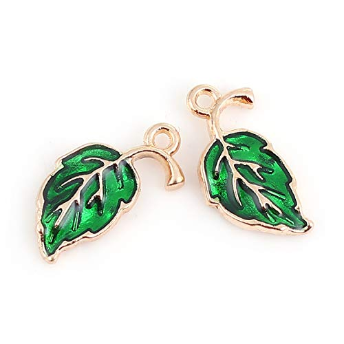 (PEPPERLONELY 20pc Plated Gold Alloy Leaf Green Enamel Charms Pendants 20x10mm (6/8