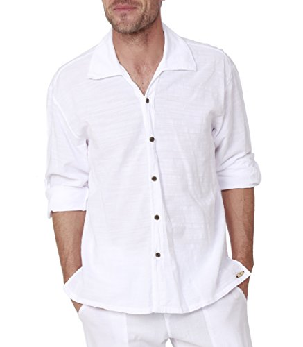 PURE PLANT HOME Men's White Shirt 100% Cotton Casual Hippie Shirt V-Neck Drawstring Short Sleeve Beach Yoga Top (White 1, Medium)