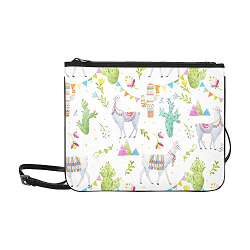 Watercolor Pattern A Tibetan Llama Cacti Flags A Pattern Custom High-grade Nylon Slim Clutch Bag Cross-body Bag Shoulder Bag ()