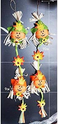 Amosfun Una Carita Sonriente Vertical Halloween Fantasma espantapájaros Colgando de los Accesorios de jardín de Infantes adornar el día de los Fantasmas Colgando: Amazon.es: Hogar