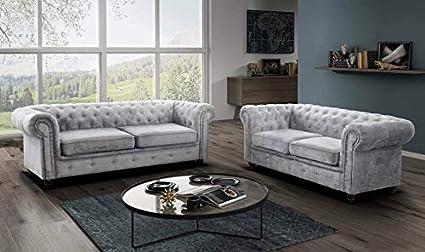 sleepkings Hablo Chesterfield Fabric Sofa Set 3+2 Seater ...