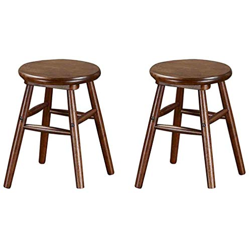YCSD Solid Wood Stools Round Desk Stool Dining Bench Makeup Stool Vanity Stool, Oval and Round Stool,Pack - 2 (Size : 34 × 34cm × 46cm)