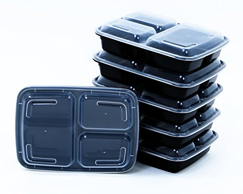 BlacWare [5 - Pack] Meal Prep 3 Compartment Food Storage Containers Durable BPA Free Plastic Reusable Microwave & Dishwasher Safe w/ Airtight Lid For Portion Control & 21 Day Fix Weight Loss Fitness