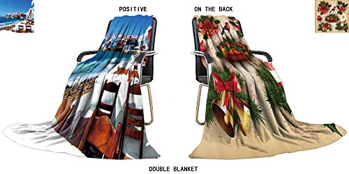 gn Cozy Flannel Duplex Printed Blanket Colorful Little Venice Neighborhood of Mykonos Island,Greece Lightweight Blanket 47
