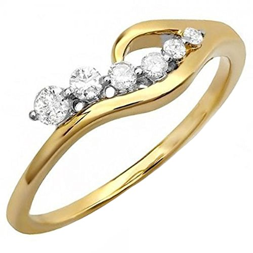 Unique Right Hand Rings (0.23 Carat (ctw) 14K Yellow Gold Real Round White Diamond Ladies Right Hand Journey Ring 1/4 CT (Size 9))