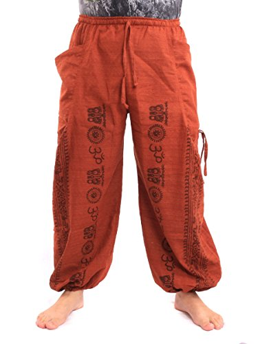 jing shop Harem Pants Boho Hippie Pattern Print Cotton Orange -