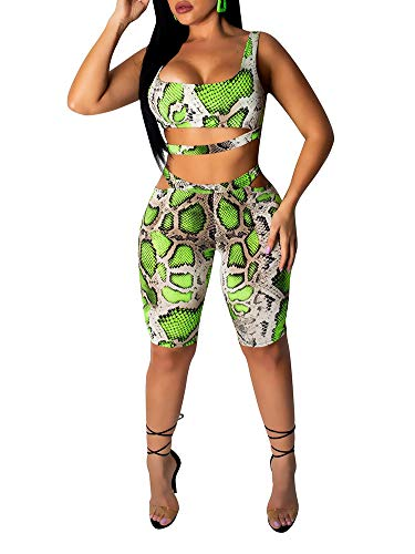 Womens Sexy Two Piece Jumpsuit Snake Skin Outfits - Bodycon Crop Top + High Waist Shorts Tracksuit Set Green