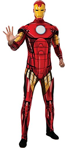 UHC Men's Marvel Iron Man Deluxe Outfit Movie Theme Halloween Fancy Costume, STD (Up to 44)