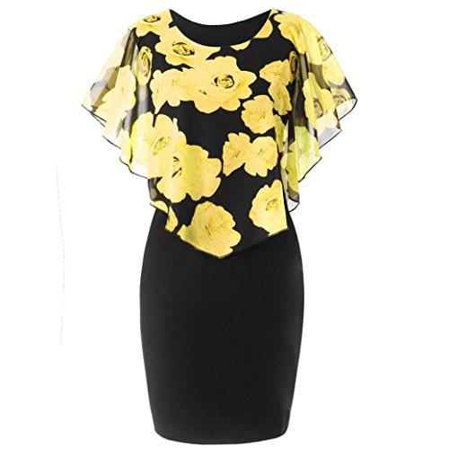 Bafaretk Fashion Womens Casual Plus Size Mini Dress Rose Print O-Neck Ruffles Chiffon Top (3XL, Yellow)