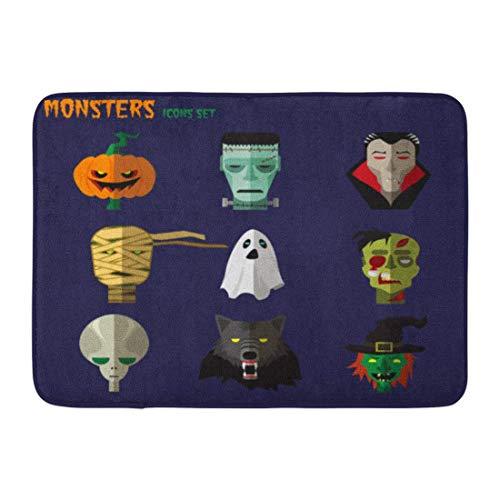 (Atokker Doormats Bath Rugs Outdoor/Indoor Door Mat Orange Flat Halloween Monster of Pumpkin Ghost Dracula Zombi Werewolf Frankenstein Alien Mummy Vintage Bathroom Decor Rug 32x20)
