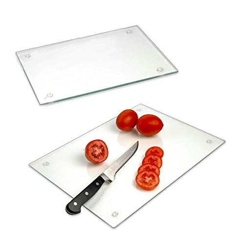(Tempered Glass Cutting Board - Long Lasting Clear Glass - Scratch Resistant, Heat Resistant, Shatter Resistant, Dishwasher Safe. (2 Large)