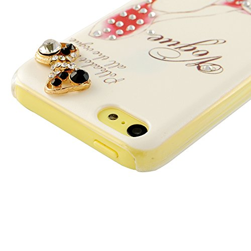 5c Case, iPhone 5c Case - Mavis's Diary 3D Handmade Bling Crystal High Heels Sparkle Glitter Diamond Bow Rhinestone Case Hard Cover for iPhone 5c with Soft Clean Cloth (Case with Heart Dust Plug&Sreen Protector)