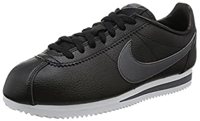 Nike Australia Men's Classic Cortez Leather Sneakers, Black/Dark Grey-White, 10 US