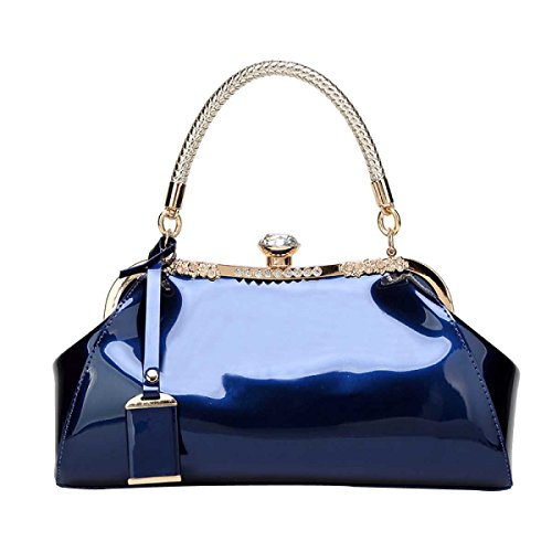 Mujeres Moda Bolso De Hombro Charol Diamantes Novia Boda Bolso Blue