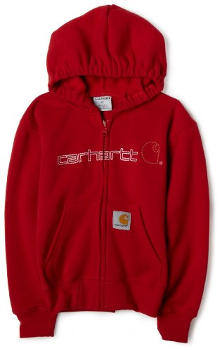 ' Midweight Zip-Front Signature Logo Sweatshirt,Red,2T ()