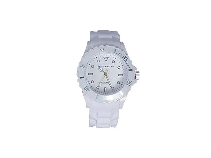 Dunlop - Trendy Mujer Reloj Pulsera de Silicona - Blanca - Bombilla de mordida Moderno Reloj: Amazon.es: Relojes