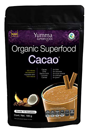 Organic Superfood Cacao by Yumma Superfoods, Mezcla de Cacao con superfoods en polvo 180 gr, 100% orgánico y natural