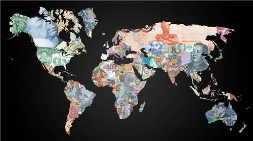 - CURRENCY MAP OF THE WORLD GLOSSY POSTER PICTURE PHOTO money euro pound globe