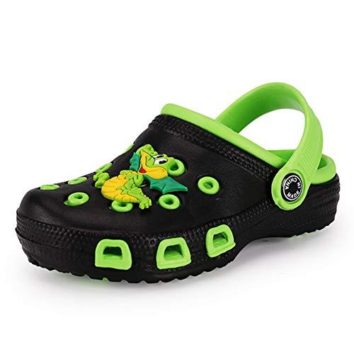 Babelvit Kid's Water Clogs Garden Sandals Shoes Slides Slip On Lightweight Beach Slipper for Toddlers Children Boys Girls (5 M US Toddler, A-Black&Green)