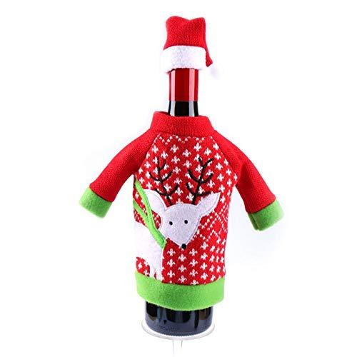 Cacys-Store - Christmas Decoration Supplies Red Wine Bottle Cover Wool Bags Decoration Home Party Santa Claus Christmas artigos de natal