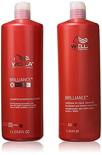 WELLA Brilliance Shampoo & Conditioner Coarse Colored Hair,Liter Duo 33.8 oz