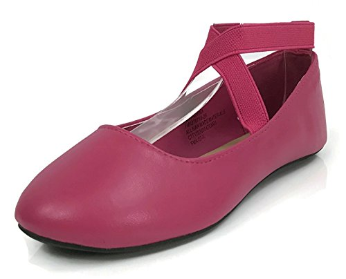Osito Collection Girls Kids Princess Ankle Wrap Ballet Flats Fuchsia 9 US Toddler - Image 3